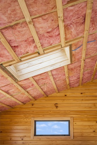 Insulation Installation of Fiberglass Batts in Ceiling